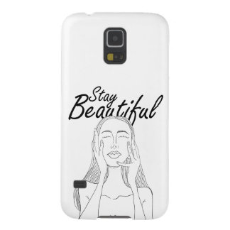 Stay Beautiful: Beautiful Long Hair Woman Line Art Galaxy S5 Cover