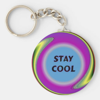 Stay Cool Basic Round Button Key Ring