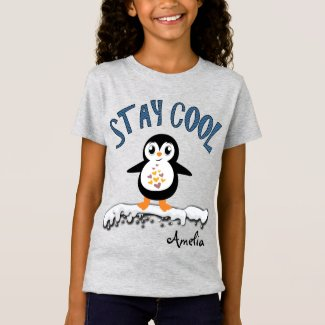 Stay Cool Penguin On the Ice Cute Kids T-Shirt