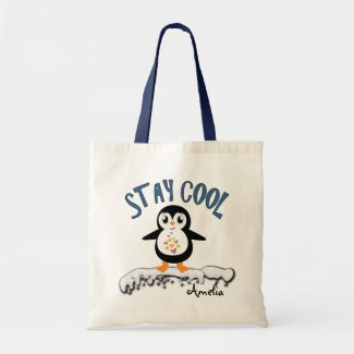Stay Cool Penguin On the Ice Cute Kids Tote Bag
