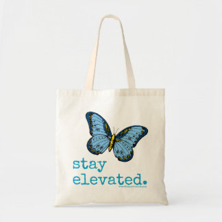 """""""Stay Elevated"""" Blue Butterfly Tote"""