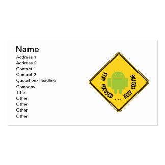 Stay Focused ... Keep Coding Bug Droid Sign Sides Pack Of Standard Business Cards
