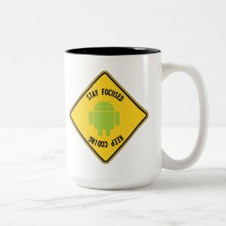Stay Focused Keep Coding (Top Bottom Sign) Two-Tone Coffee Mug