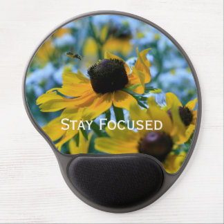 Stay Focused Quote Daisies Gel Mouse Pad