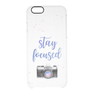 Stay Focused | Watercolor Camera and Typography Clear iPhone 6/6S Case