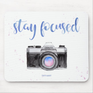 Stay Focused   Watercolor Camera and Typography Mouse Mat