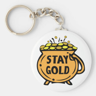 Stay Gold Basic Round Button Key Ring