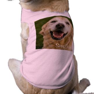 """Stay Golden"" Golden Retriever Ribbed Tank Top Sleeveless Dog Shirt"