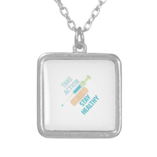Stay Healthy Square Pendant Necklace