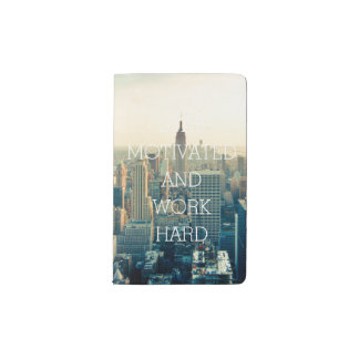 Stay motivated work hard inspirational quote NYC Pocket Moleskine Notebook
