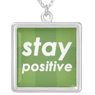 Stay Positive on Green Plus Square Pendant Necklace