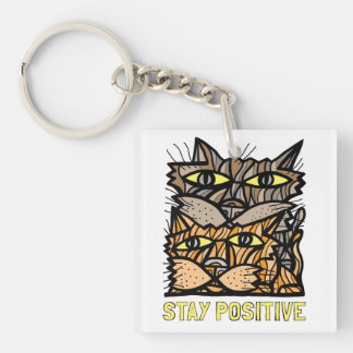 """""""Stay Positive"""" Square (double-sided) Keychain"""