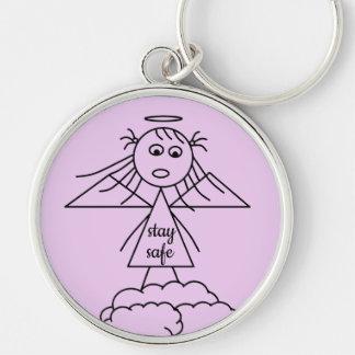 Stay Safe Cute Stick Angel Girl Figure Key Ring