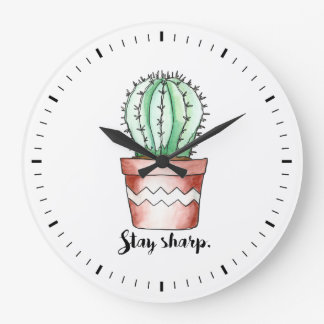 Stay Sharp Cactus Wall Clock