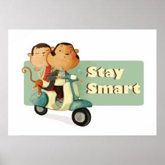 Stay Smart Scooter Monkeys Print