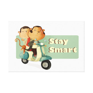 Stay Smart Scooter Monkeys Stretched Canvas Print