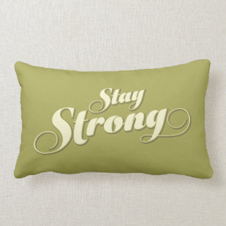 Stay Strong Encouraging Green Lumbar Pillow Cushion