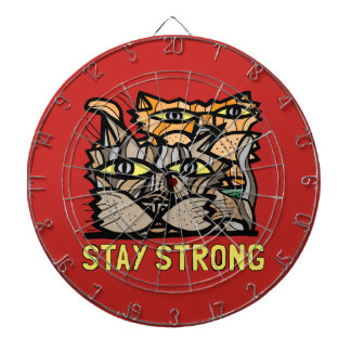 """""""Stay Strong"""" Metal Cage Dartboard"""