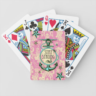 Stay Strong nautical art in retro color palette Card Decks