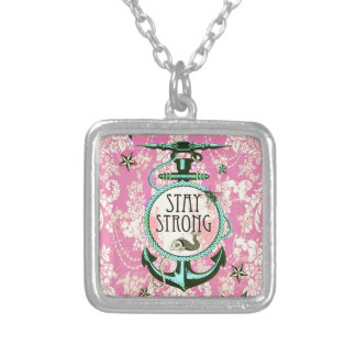 Stay Strong Nautical Art in retro color palette. Silver Plated Necklace