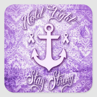 Stay strong nautical pancreatic cancer products. square sticker