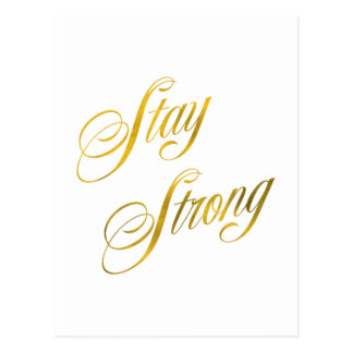 Stay Strong Quote Faux Gold Foil Quotes Sparkly Postcard