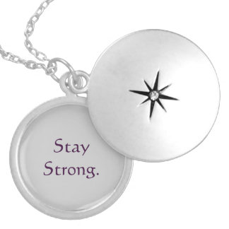 Stay Strong Quote Locket Necklace