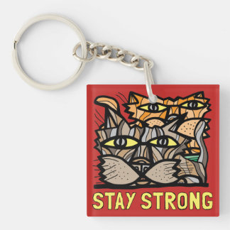 """""""Stay Strong"""" Square (double-sided) Keychain"""