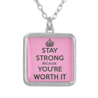 Stay Strong Square Pendant Necklace