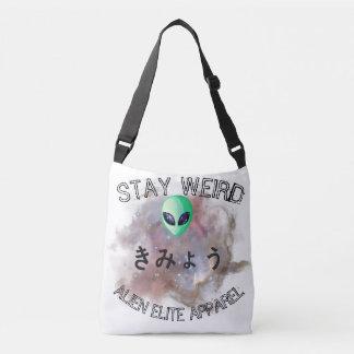 'Stay Weird' Alien Cross Body Tote Bag