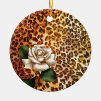 Stay Wild Animal print leopard white rose Christmas Ornament