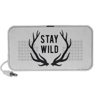 stay wild, text design with deer antlers iPhone speaker