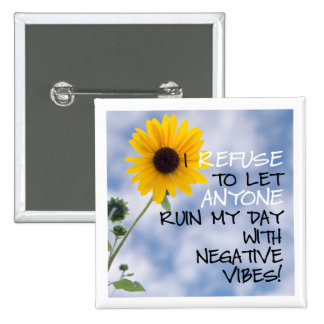 Staying Positive Text With A Sunflower In The Sky 15 Cm Square Badge