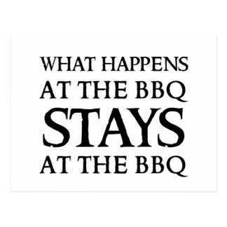 STAYS AT THE BBQ POSTCARD