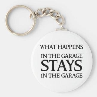 STAYS IN THE GARAGE BASIC ROUND BUTTON KEY RING
