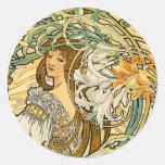 Stcker:  Mucha - Language of Flowers Round Sticker