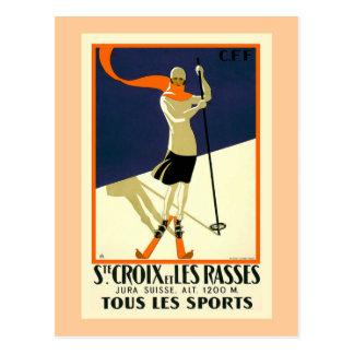 Ste Croix et Les Rasses Swiss Vintage Travel Post Card