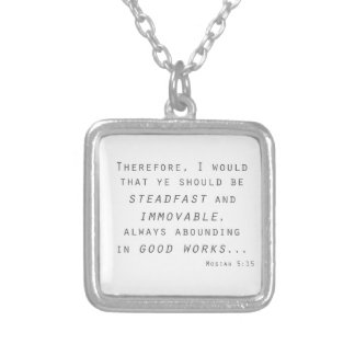 steadfast immovable mosiah lds scripture square pendant necklace