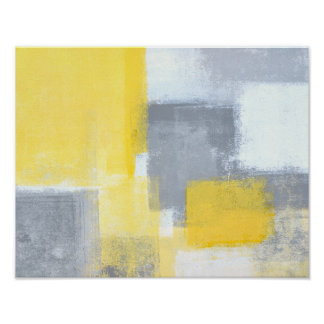 'Steady' Grey and Yellow Abstract Art Poster