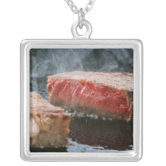 Steak 3 silver plated necklace