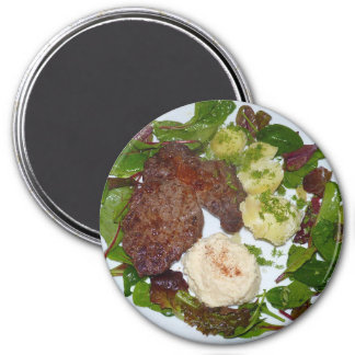 Steak and Mashed Potato Dinner Refrigerator Magnet