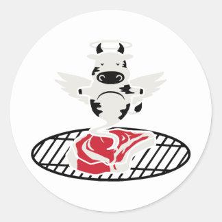 Steak Angel Round Sticker