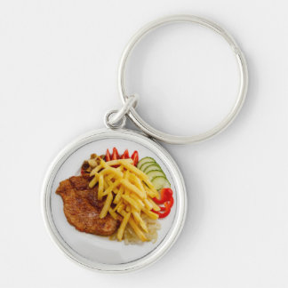 Steak Dinner Novelty Fun Food Silver-Colored Round Key Ring