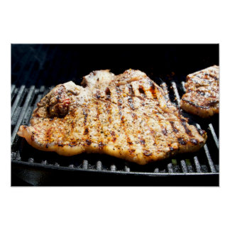 Steak on Grill - What's for Dinner Print