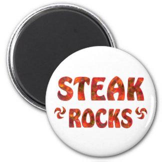 STEAK ROCKS 6 CM ROUND MAGNET