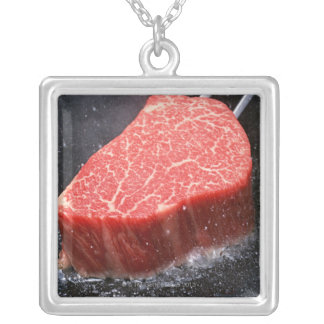 Steak Silver Plated Necklace
