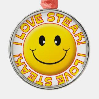 Steak Smile Silver-Colored Round Decoration