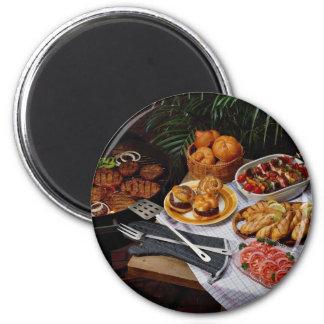 Steaks, burgers, chicken refrigerator magnet