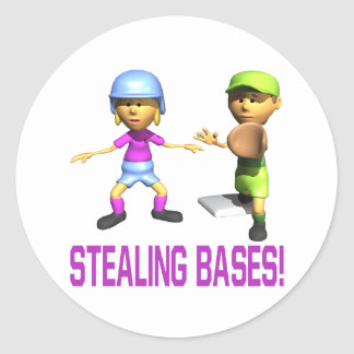 Stealing Bases Round Stickers