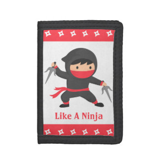 Stealth Ninja with Sai Weapons for Kids Trifold Wallet